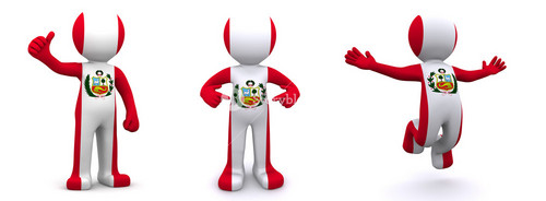 3d Character Textured With Flag Of Peru
