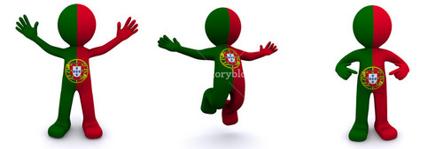 3d Character Textured With Flag Of Portugal