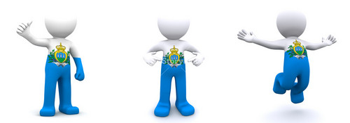 3d Character Textured With Flag Of San Marino