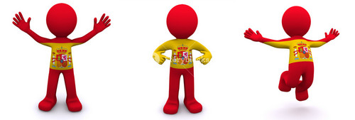 3d Character Textured With Flag Of Spain