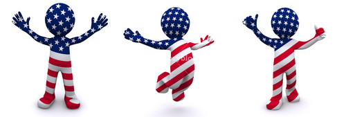 3d Character Textured With Flag Of Usa