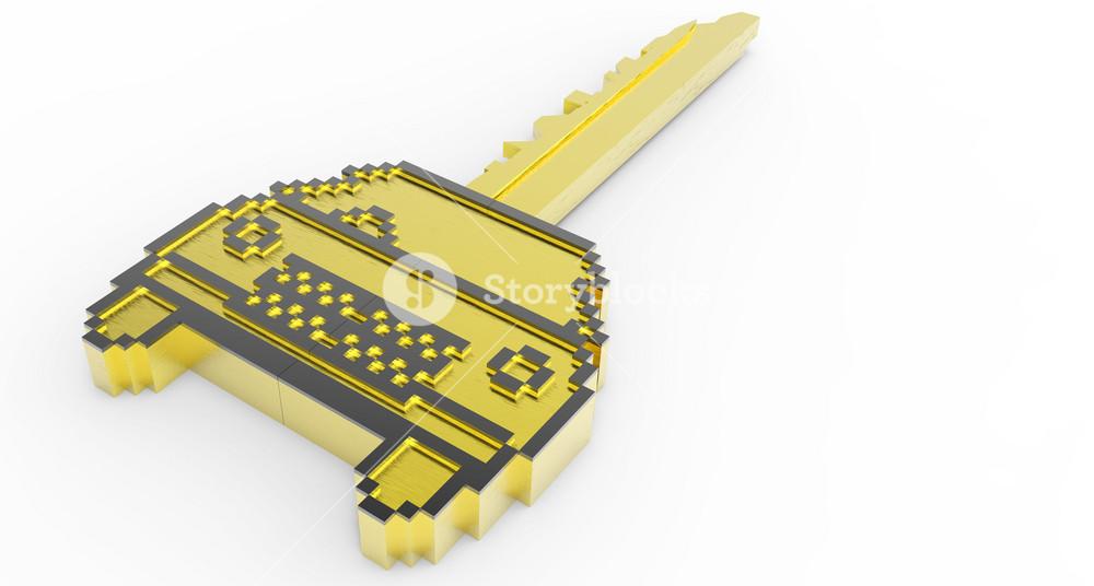 3d Gold Pixel Car Key Icon
