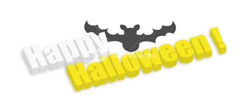 3d Happy Halloween Bat