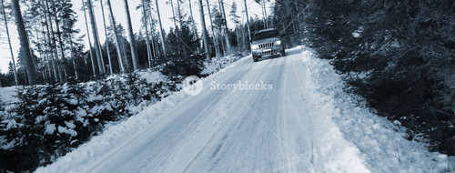 4x4, driving on small snowy road, rough terrain