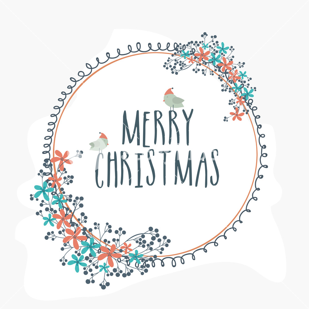 Beautiful flowers and cute birds decorated greeting card design for Merry Christmas celebration.