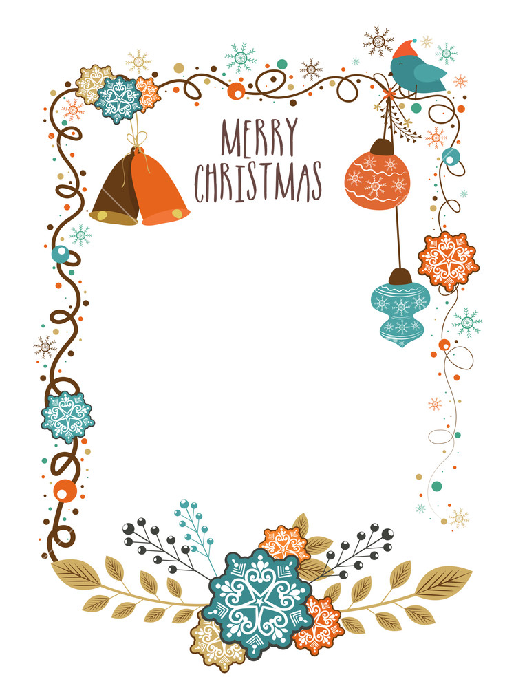 Beautiful greeting card design decorated with creative ornaments for Merry Christmas celebration.