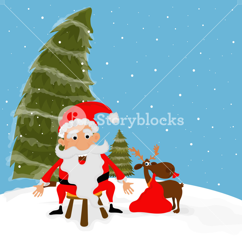 Funny Santa Claus And Reindeer On Xmas Trees Decorated Winter Background For Merry Christmas Celebration Royalty Free Stock Image Storyblocks