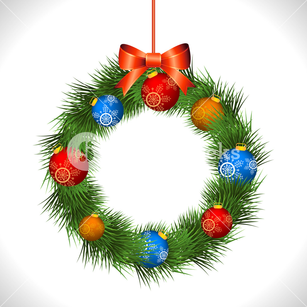 Colorful glossy Xmas Balls decorated elegant wreath hanging on grey background for Merry Christmas celebration.