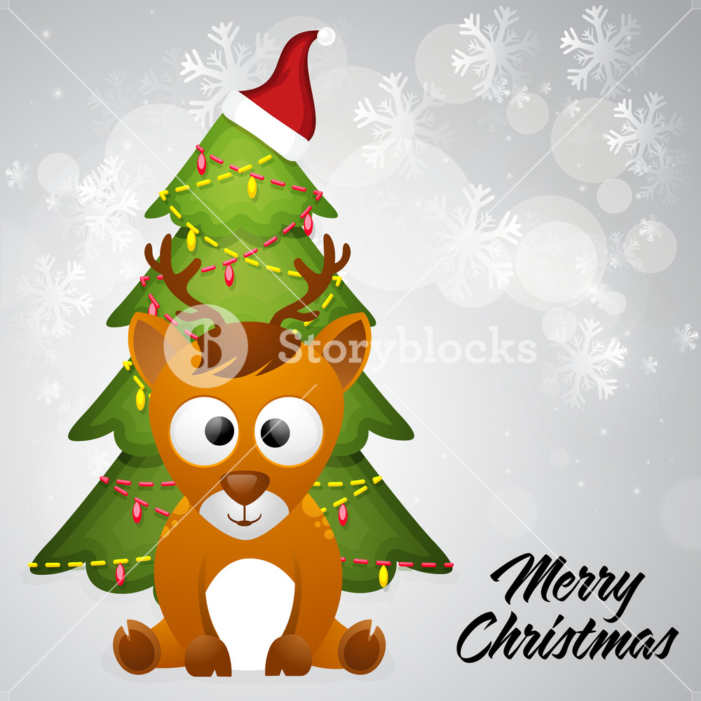 Cute reindeer with creative Xmas Tree on shiny snowflakes decorated grey background for Merry Christmas celebration.