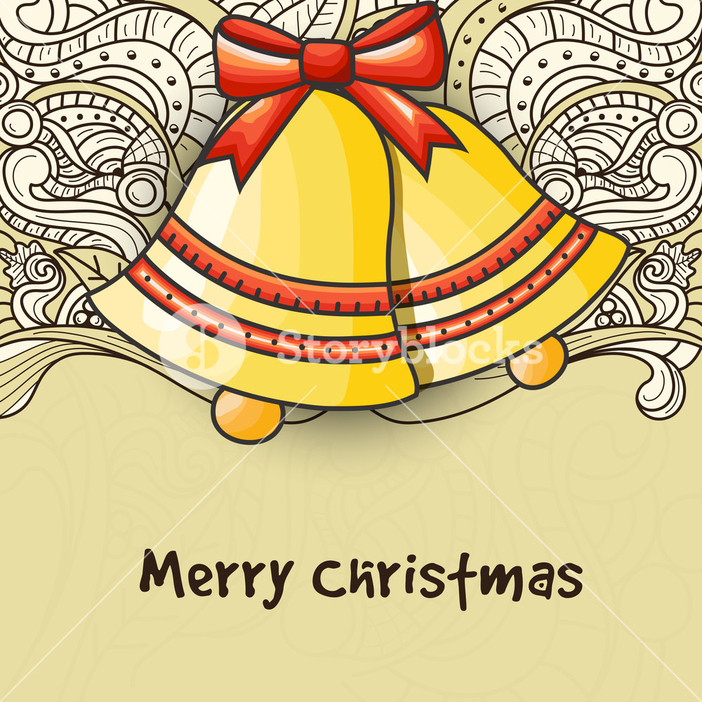 Floral design decorated greeting card with glossy Jingle Bells for Merry Christmas celebration.