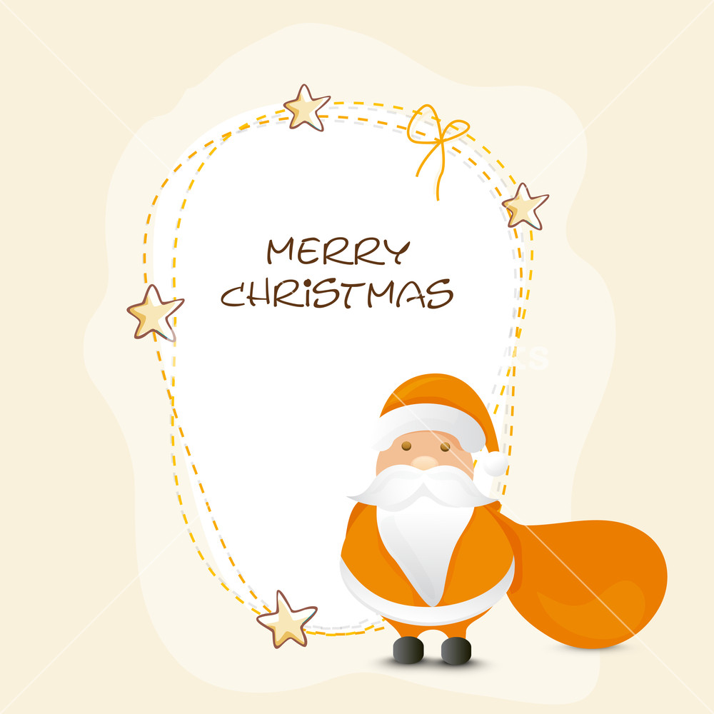 Creative stars decorated greeting card design with cute Santa Claus holding gift sack for Merry Christmas celebration.