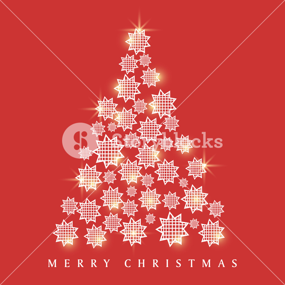 Merry Christmas celebrations greeting card design with shiny Xmas Tree made by creative stars on red background.