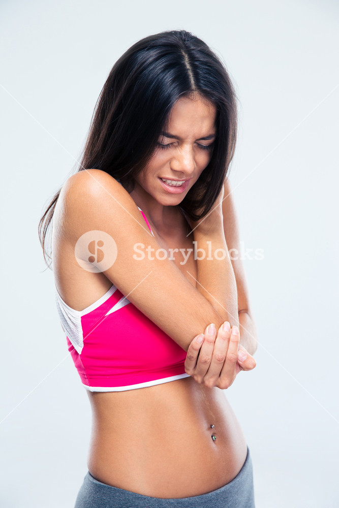 Fitness woman with elbow pain