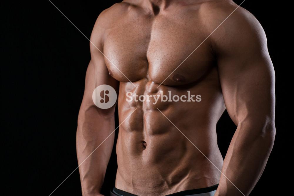 Closeup portrait of a muscular male chest