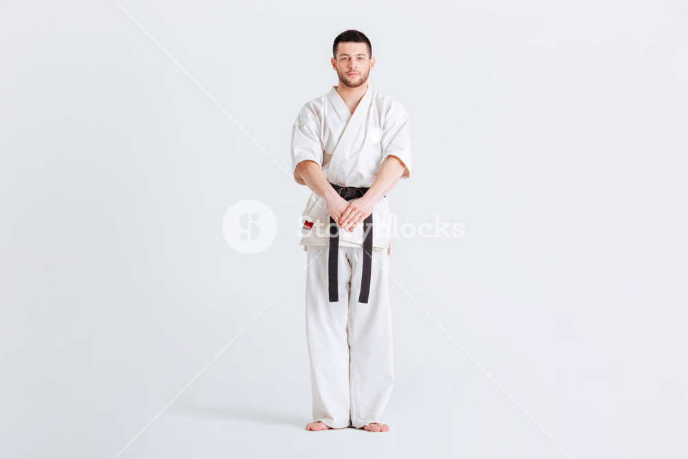 Full length portrait of a male fighter in kimono