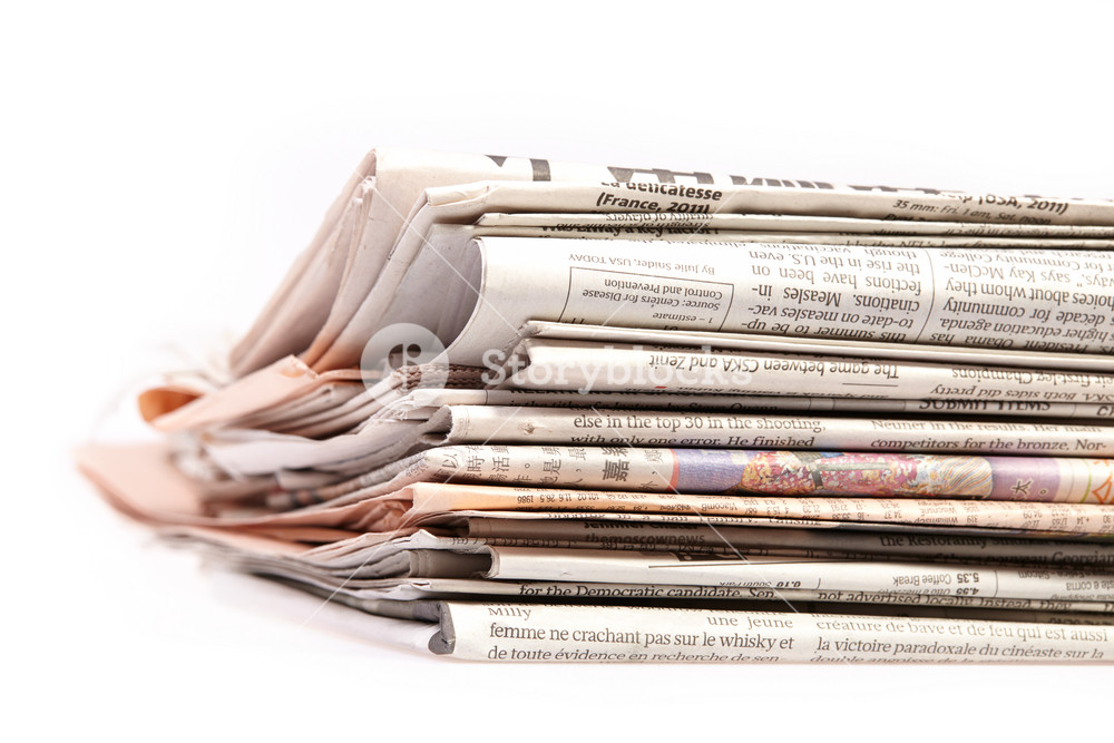 International newspapers on white
