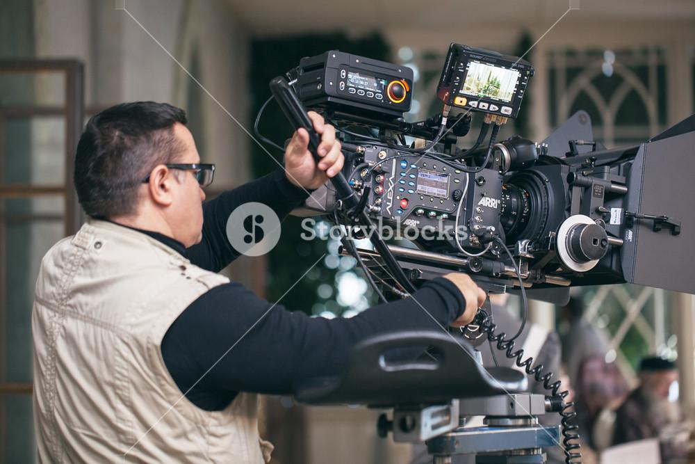 Camera operator working during filming