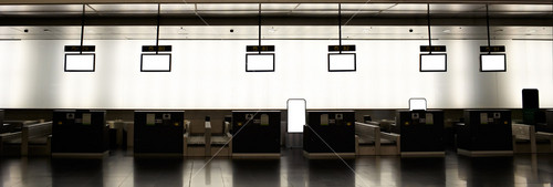 Empty airport check-ins