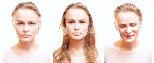Girl passport photos with different emotions