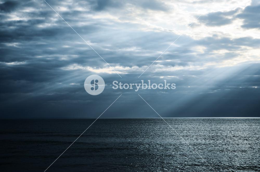 Dramatic Sunbeams In The Sea