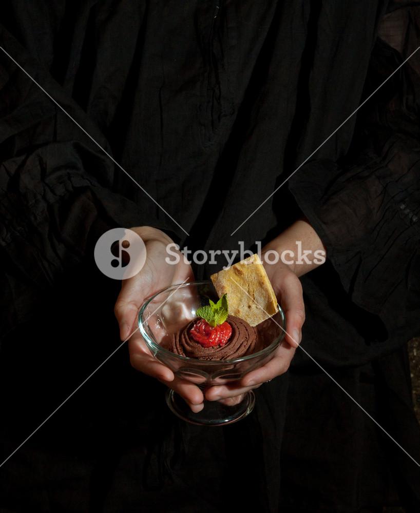 Chocolate Dessert In Women's Hands