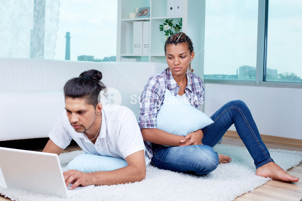 Image Of Young Upset Female Feeling Lonely While Her Husband Networking