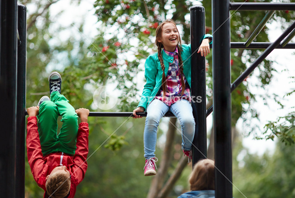School Friends Spending After-school Time On Sport Facilities