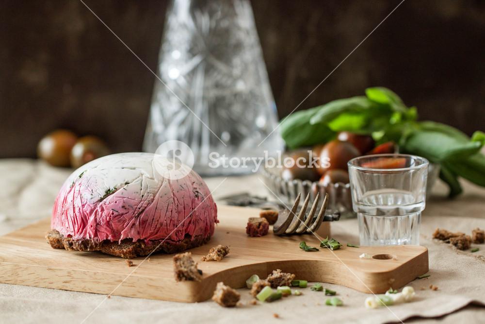 Russian Snack On Wooden Board