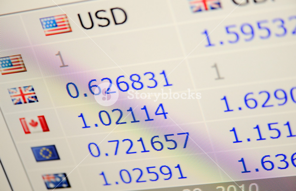 Exchange rate on the screen