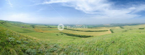 Caucas Mountains Panorama With General View Over Valey