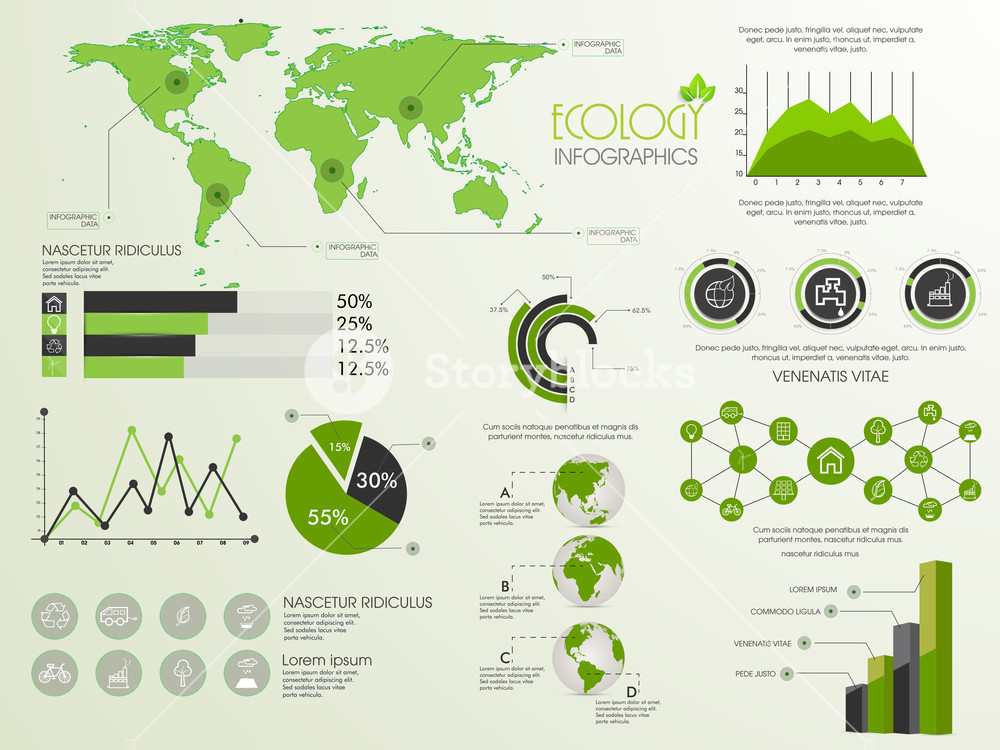 A big set of various statistical infographic elements based on ecology concept.