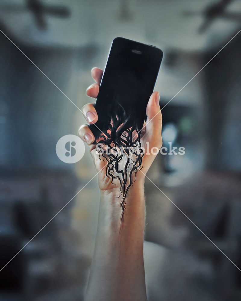 A cell phone melts into a persons arm.