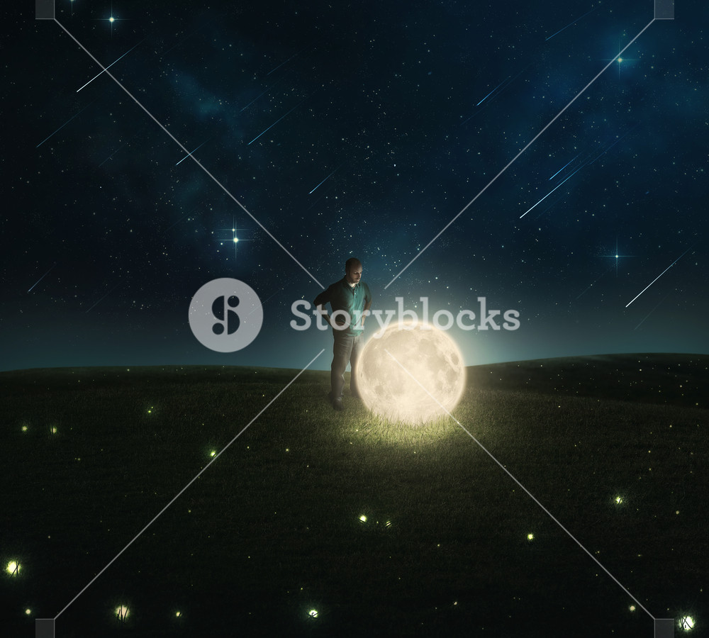 A man examines the moon and stars that have fallen