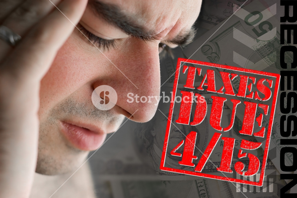 A man has intense stress over how he is going to pay his taxes during a time of economic downturn.