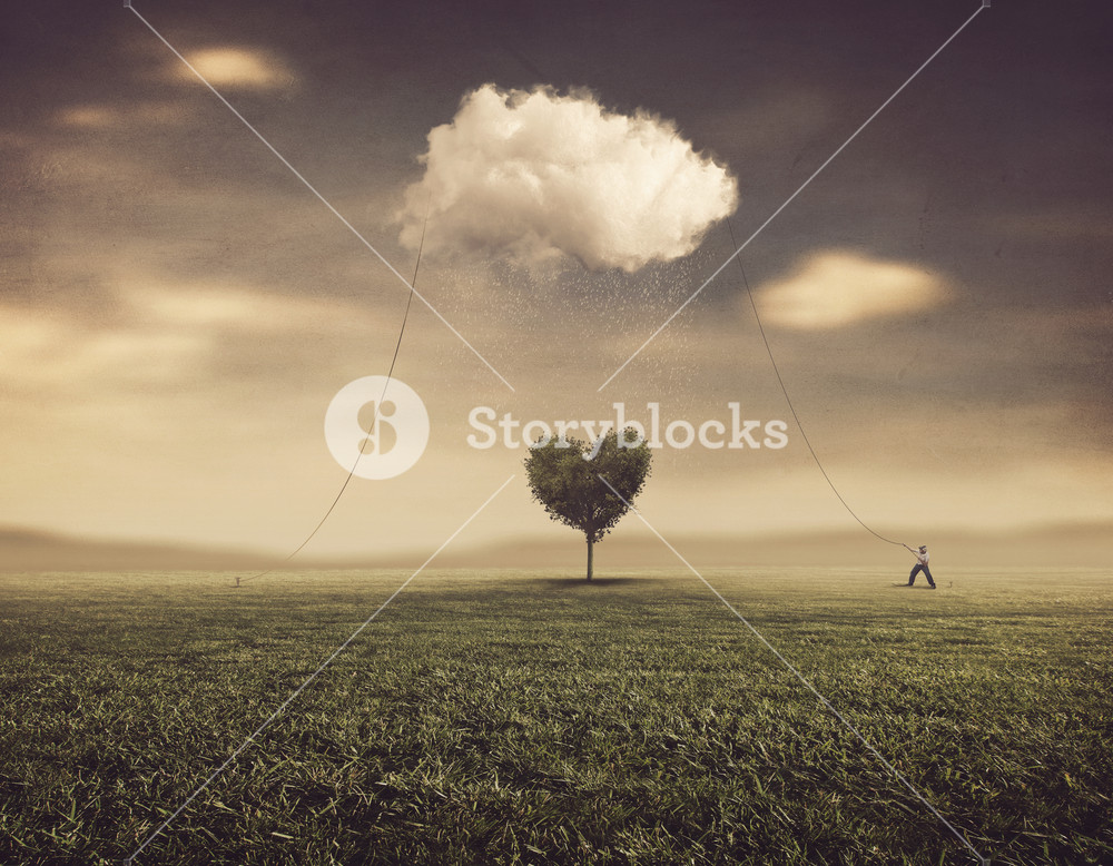 A man pulling a cloud over a tree in the shape of a heart