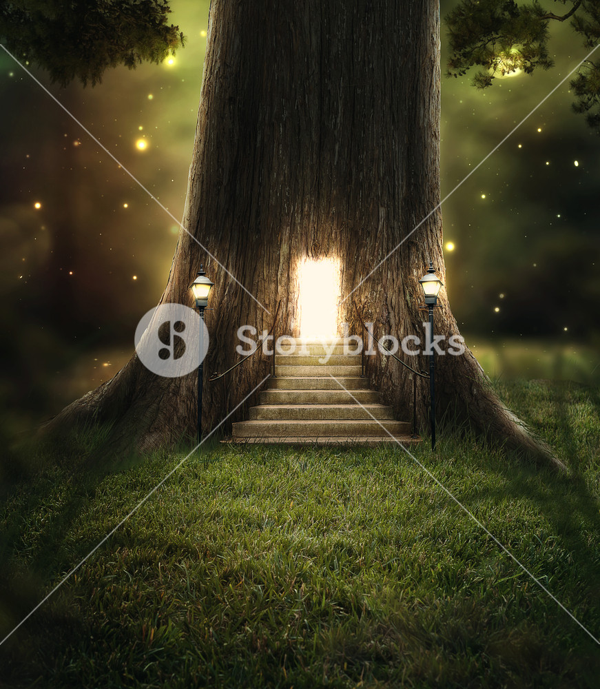 A tree in the forest with a door glowing with bright lights.