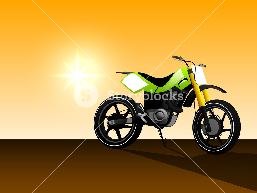 A Vector Illustration Of Green Color Motorcycle