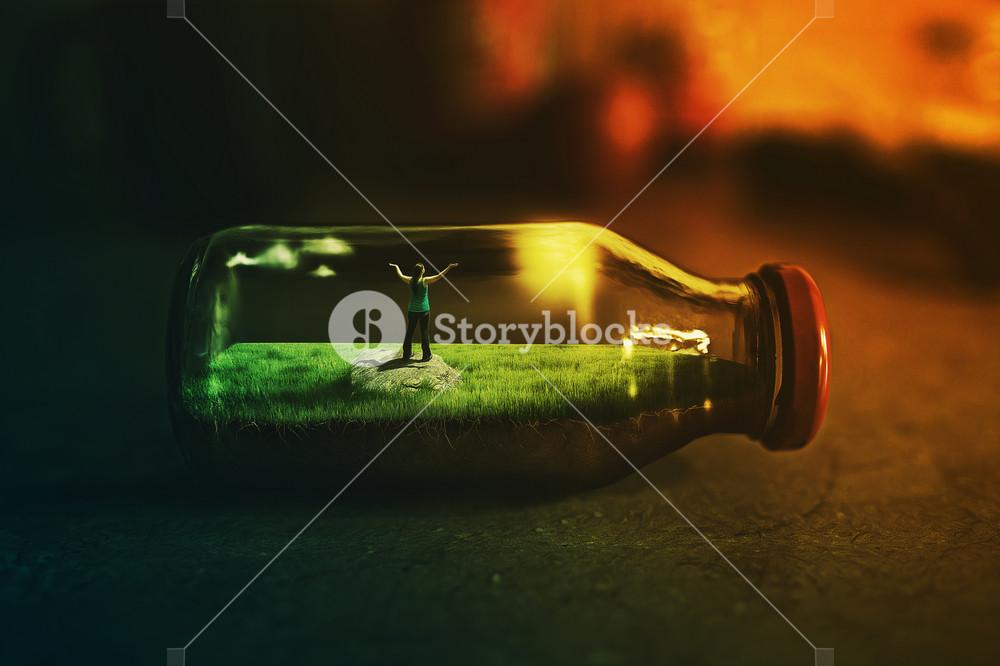 A woman is stuck inside a bottle