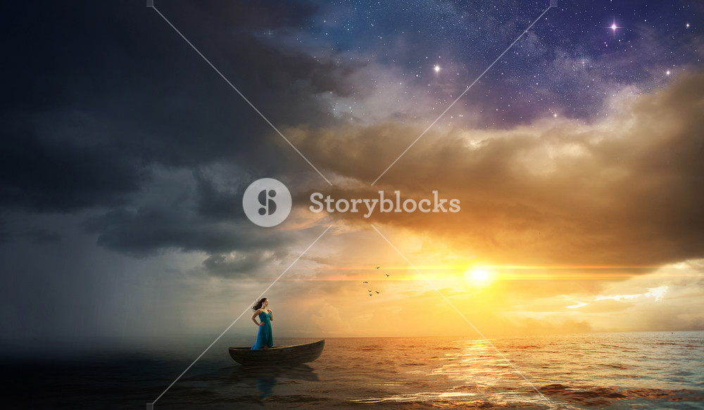 A woman on a boat tries to escape a storm and go towards the sunset.