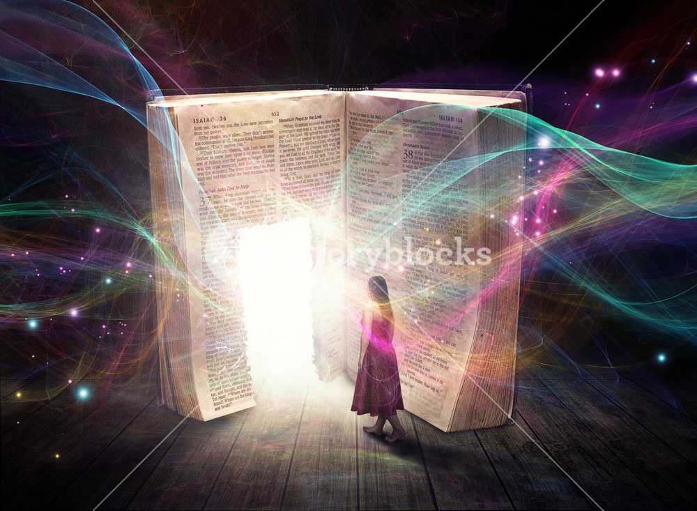 A woman walks into the doorway of a Bible