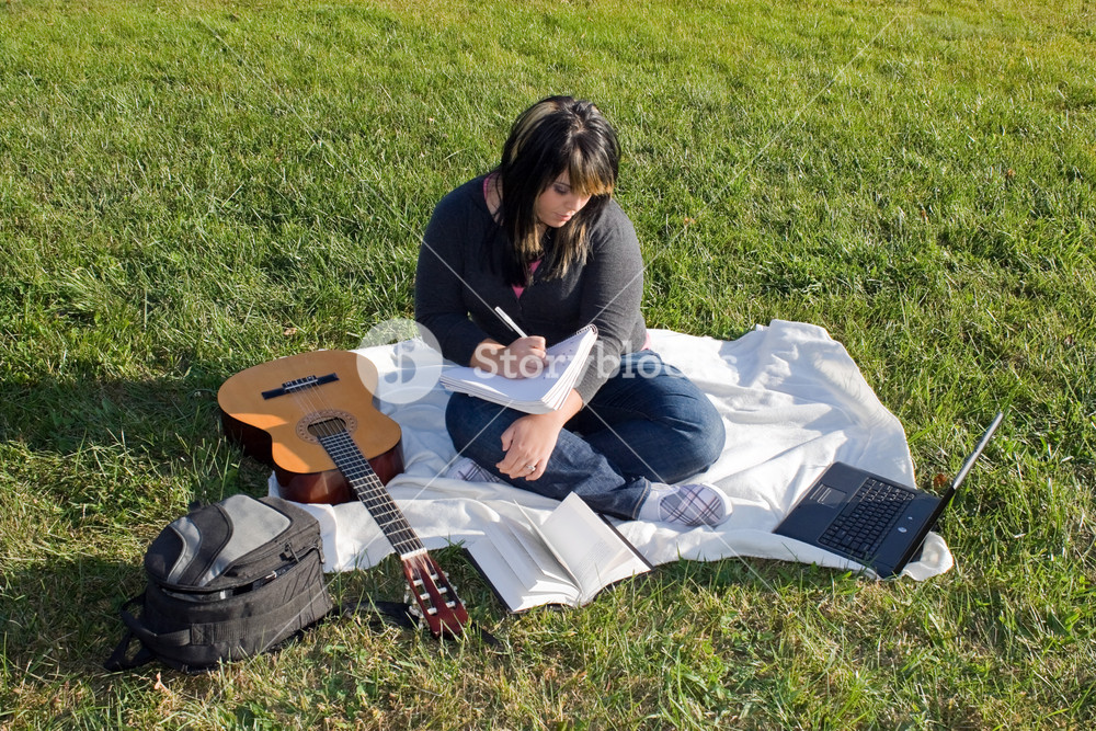 A young female singer or song writer with her guitar and computer outdoors in the grass.
