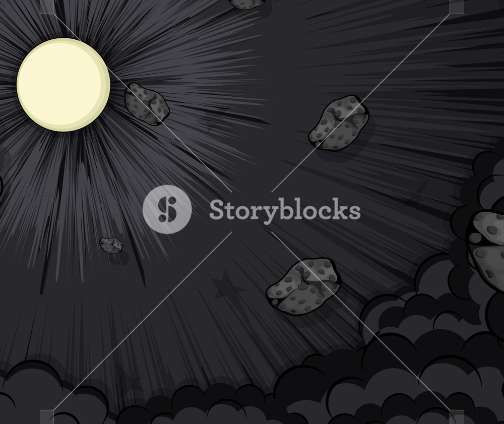 Abstract Asteroids Moon Light Background