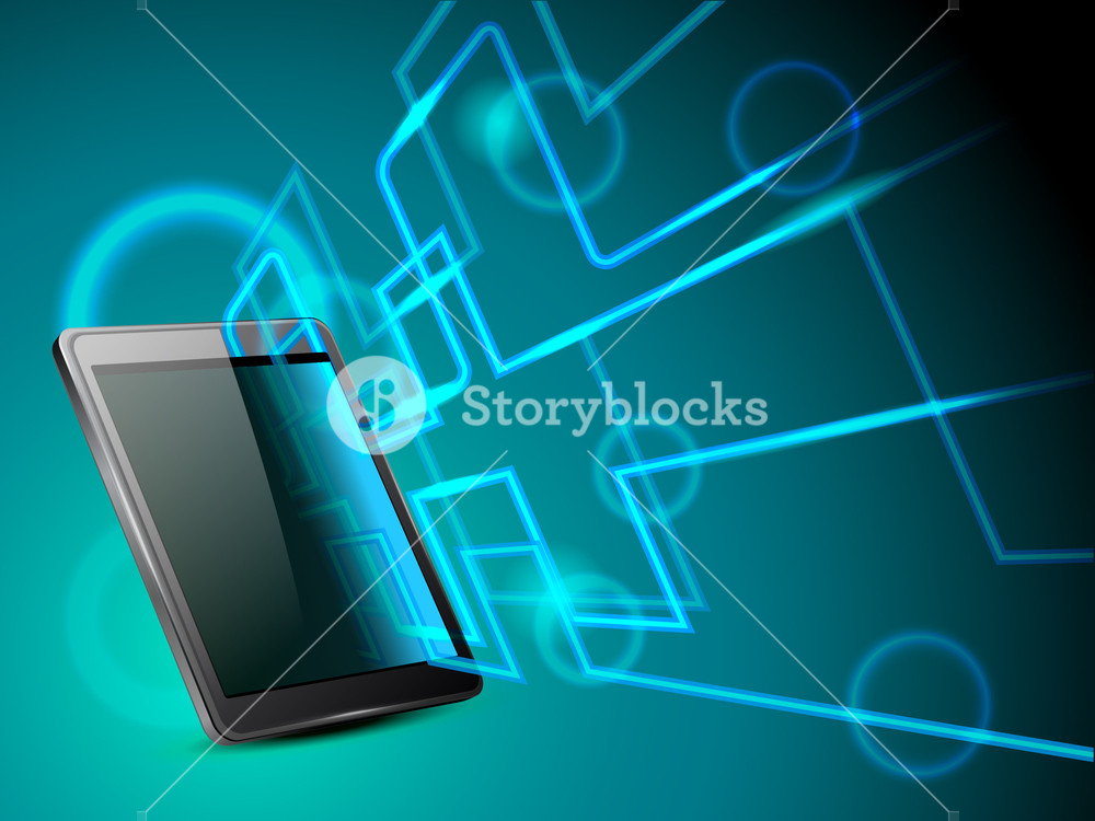 Abstract Green Background With Tablet P.c. Netwoking Signals Having Shiny Effect And Copy Space
