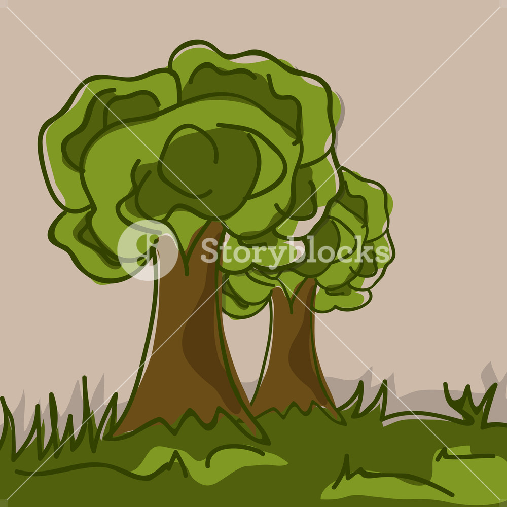 Abstract Nature Background With Green Trees