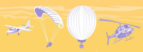 Airplane Parachute Hot Air Balloon Helicopter