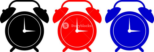 Alarm Clock Black Red Blue