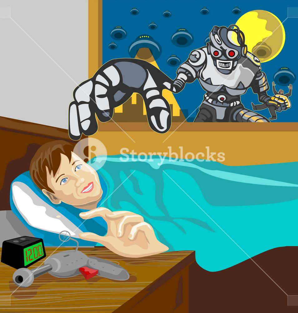 Alien Robot Snatching Kid