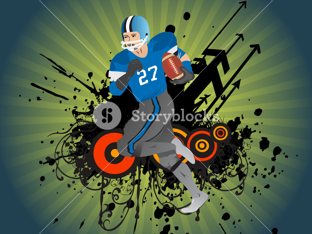 American Football Player Running For Touchdown