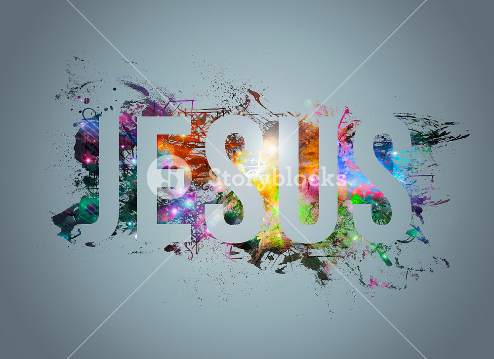 An abstract word art illustration of Jesus.