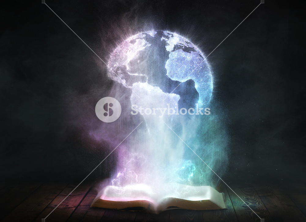 An open dusty Bible with the shape of the earth in the particles